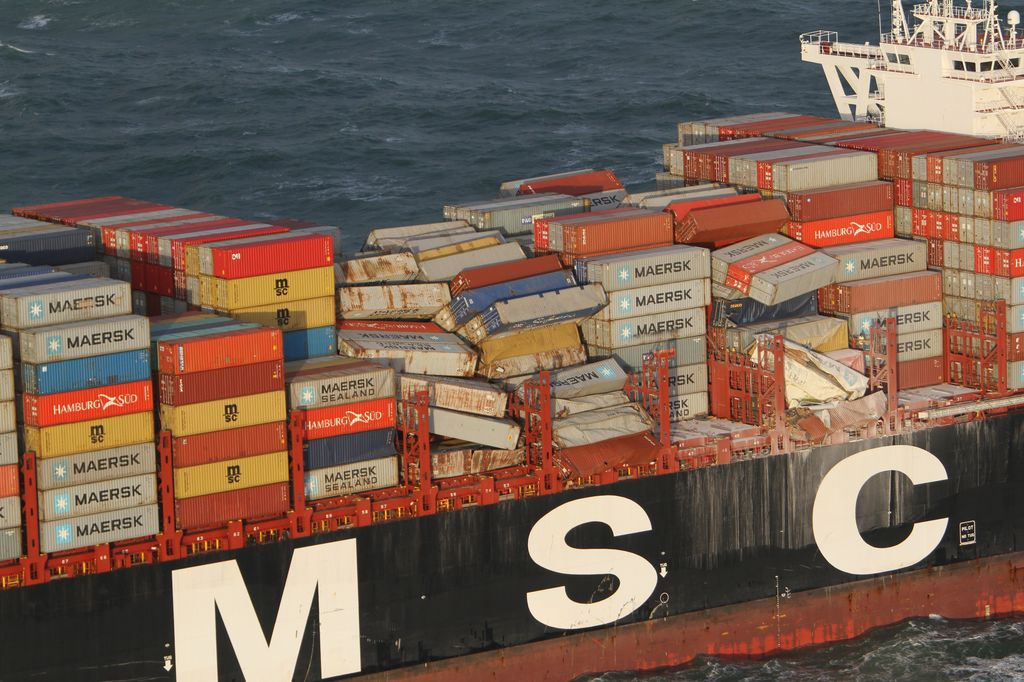 View of the smashed and disorganized containers left on the MSC Zoe.