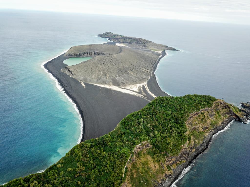 View of Hunga Tonga-Hunga Haʻapai from a drone.