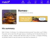 Screenshot of Romeo's match.com profile.