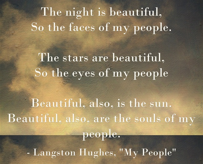 Image showing text of Langston Hughes poem, My People