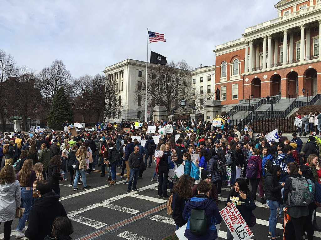 Student climate strike outside Massachusetts State House as part of a global day of student climate strikes on March 15, 2019.