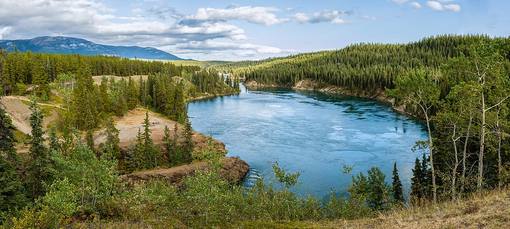 View of the Yukon River at Schwatka Lake and the entry to Miles Canyon,View of the Yukon River at Schwatka Lake and the entry to Miles Canyon,