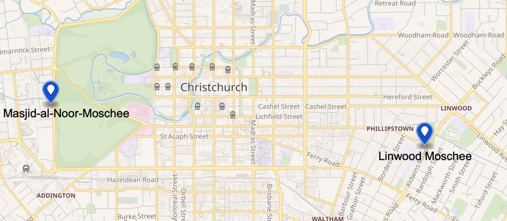 This map shows the location of the two mosques in Christchurch which were attacked.