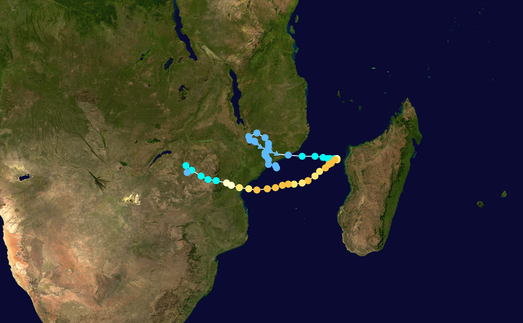 Track map of Intense Tropical Cyclone Idai of the 2018-19 South-West Indian Ocean cyclone season. The points show the location of the storm at 6-hour intervals. The colour represents the storm's maximum sustained wind speeds as classified in the Saffir–Simpson scale (see below), and the shape of the data points represent the nature of the storm, according to the legend below.
