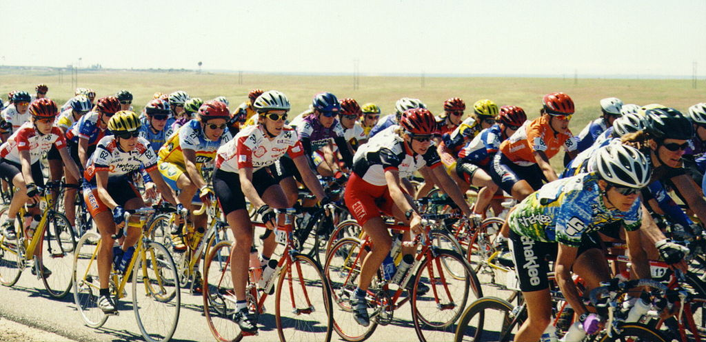 The women's peloton heads out onto the race course at the start of the Boise to Idaho City stage of the 1998 Women's Challenge stage race.