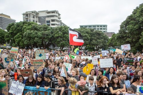 Young people in the School Strike for Climate in Wellington, New Zealand, Date: 15 March 2019, 09:53:20
