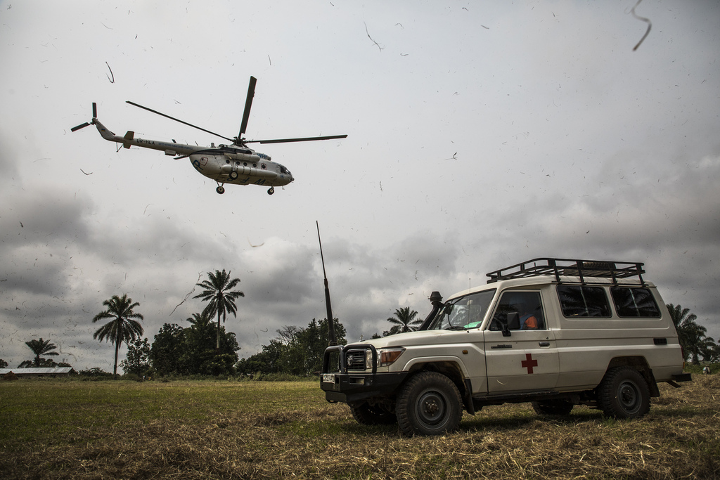 A helicopter from the MONUSCO leaves OÔcha. Photo: World Bank / Vincent Tremeau