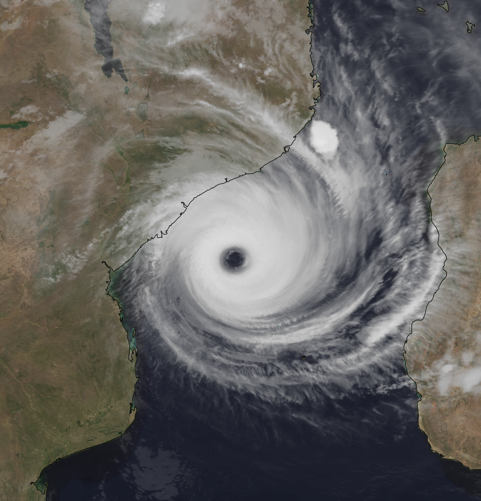 Satellite image of Cyclone Idai between Madagascar and mainland Africa, March 14, 2019. Cyclone Idai in the Mozambique Channel on 14 March 2019 at 20:16 UTC with a well defined eye and organized structure.