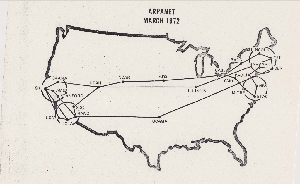 The map of ARPANET in March 1972.