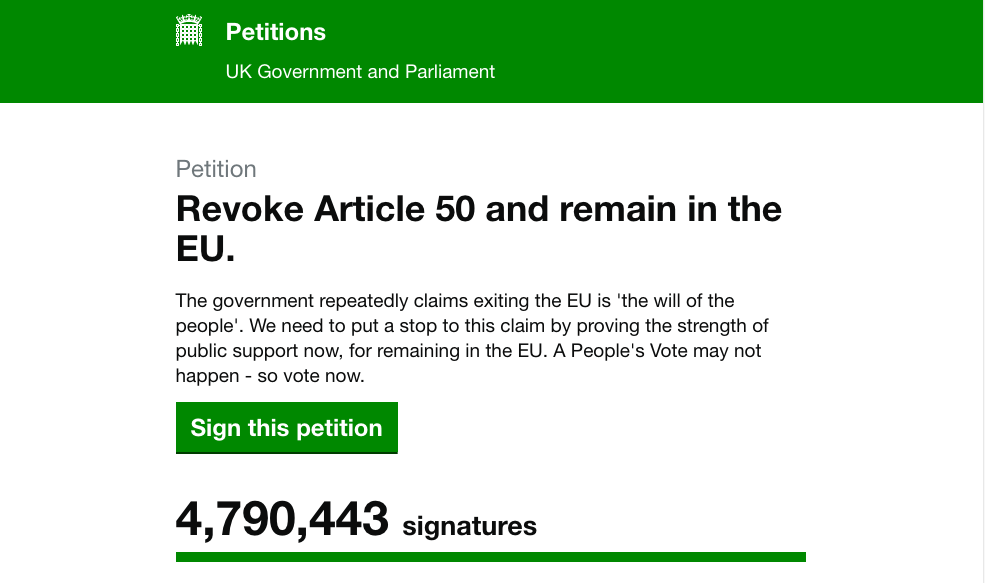 Screenshot of Brexit petition on parliament.uk website showing 4,790,443 signatures.