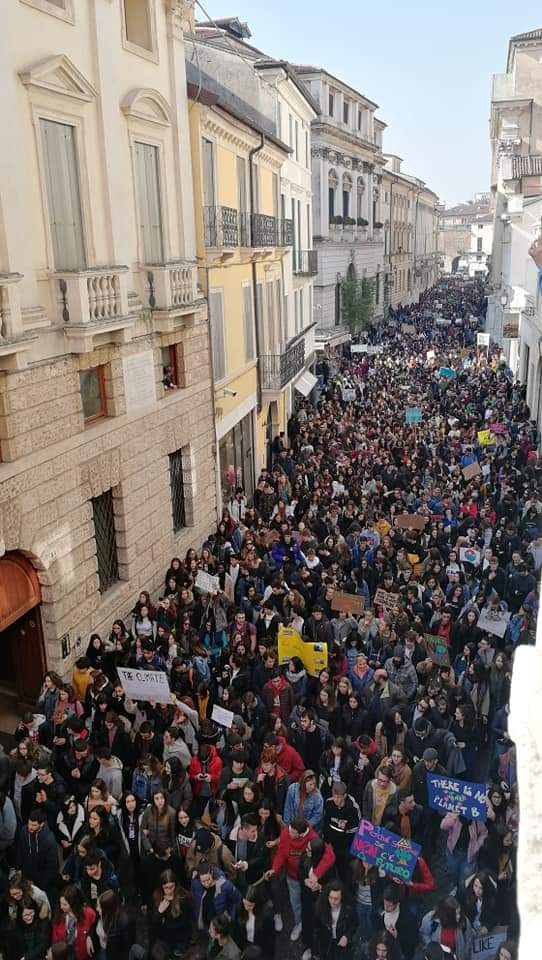 Demonstrators at Fridays for Future in Corso Palladio, Vicenza, 15th March 2019