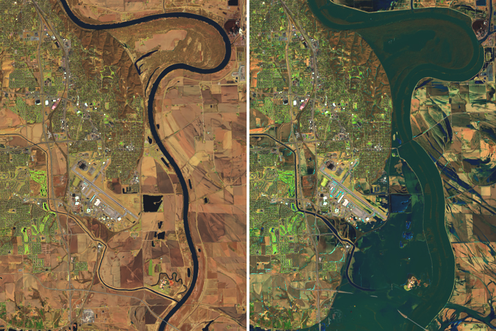 Aerial photo comparing Nebraska March 20, 2018 (Left) - March 16, 2019 (Right)