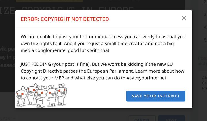 Reddit warning protesting European copyright directive.