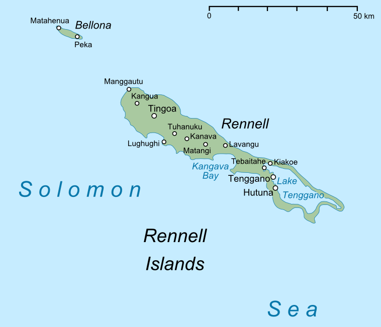 Map showing the Rennell Islands of the Solomon Islands. The ship ran aground in Kangava Bay.