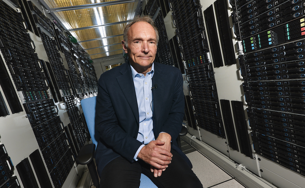 Portrait of Tim Berners Lee in a rack of the Computer Center