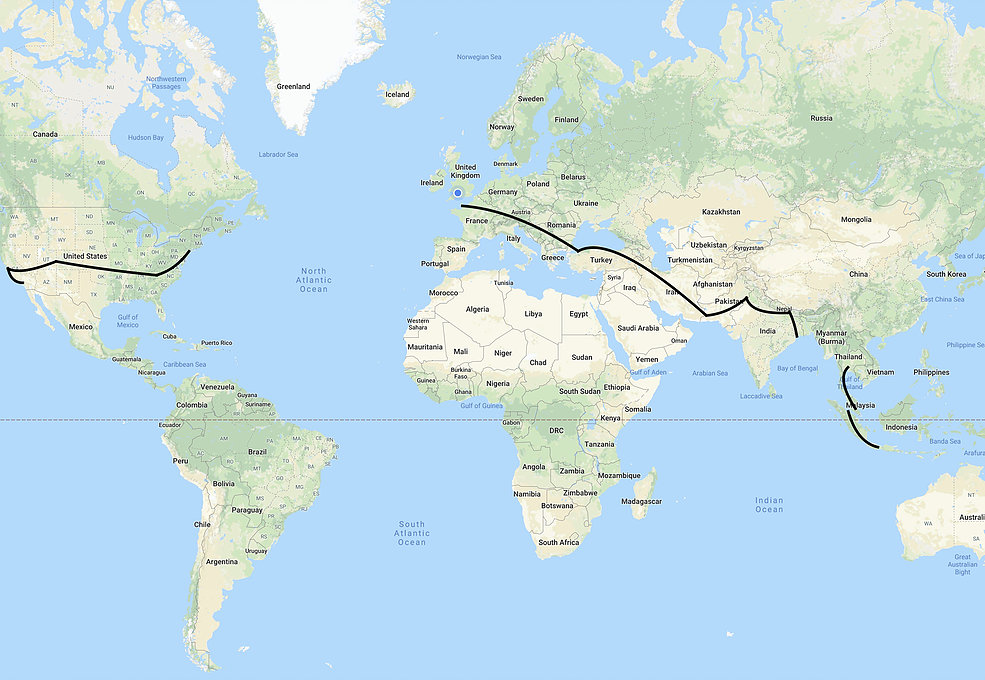 Map showing Charlie Condell's route around the world.