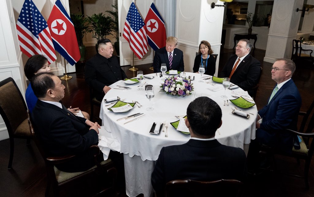 President DonaldTrump, Mike Pompeo, and White House Acting Chief of Staff Mick Mulvaney at dinner with Chairman Kim Jong-un and the DPRK delegation at the Sofitel Legend Metropole in Hanoi, Vietnam.