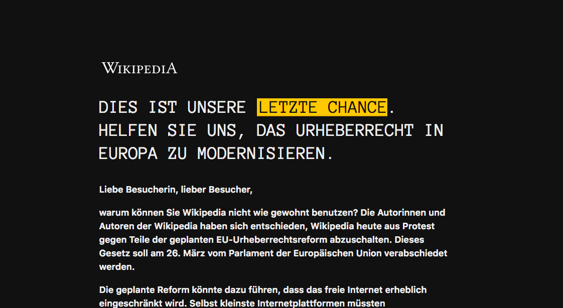 Screenshot of the letter that German Wikipedia showed to readers on Thursday instead of its regular website.