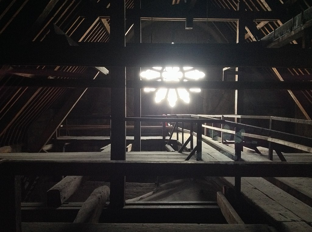 Timber interior of the cathedral roof before the fire