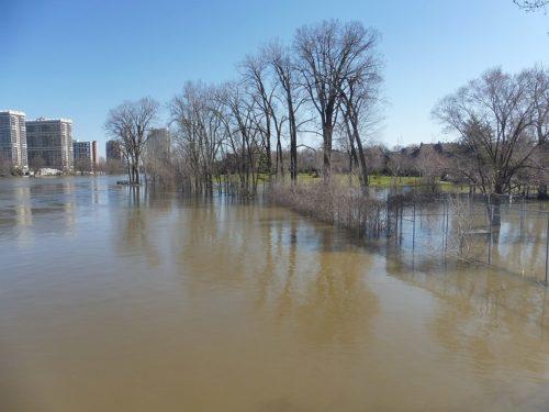 Flooding in Belmont Park near Lachapelle Bridge in the Cartierville area of Montreal./Inondation au petit parc Belmont près du pont Lachapelle dans le quartier Cartierville de Montréal.