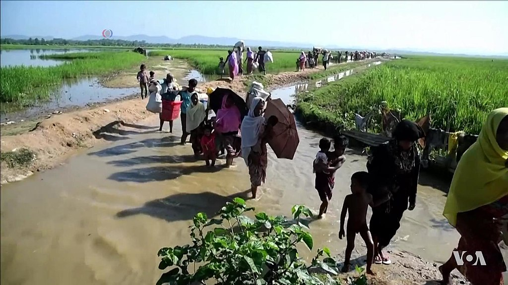 Rohingya refugees entering Bangladesh after being driven out of Myanmar, 2017