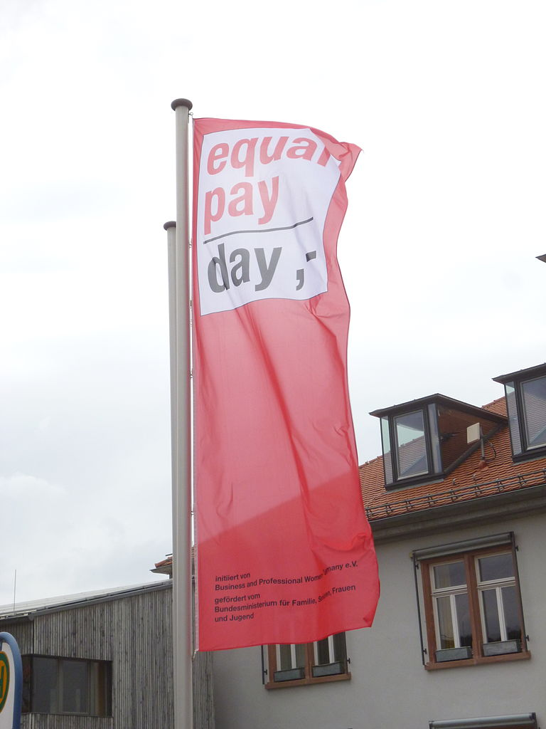 Flag for Equal Pay Day 2014 in Alsbach (Germany)