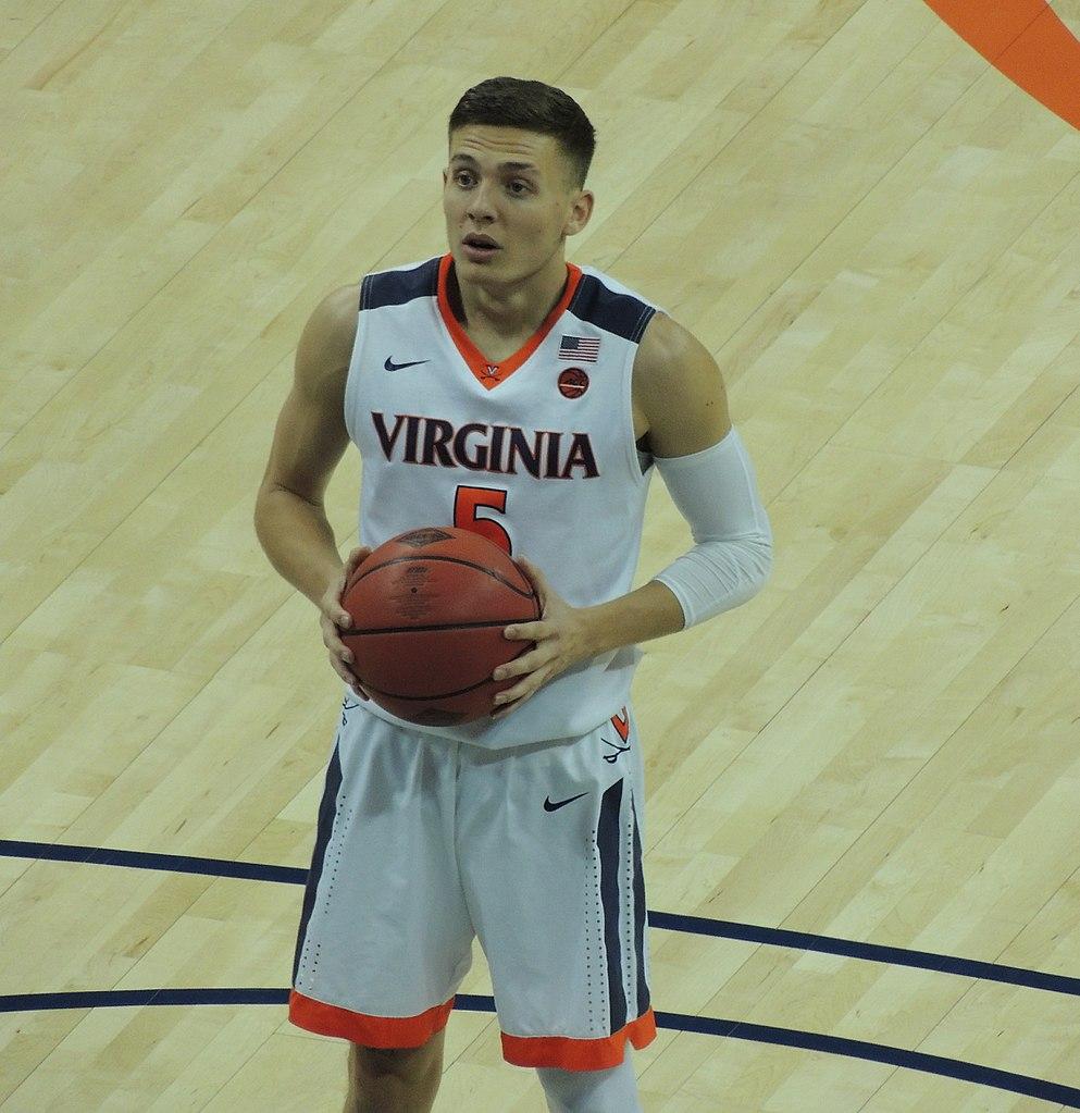 University of Virginia basketball player Kyle Guy prepares to shoot a free throw