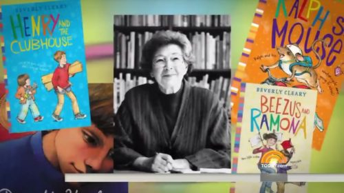 Beverly Cleary pictured with some of her books.