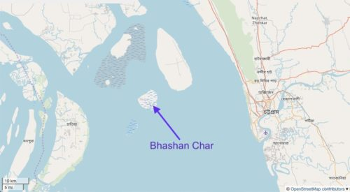 Map showing location of Bhashan Char.