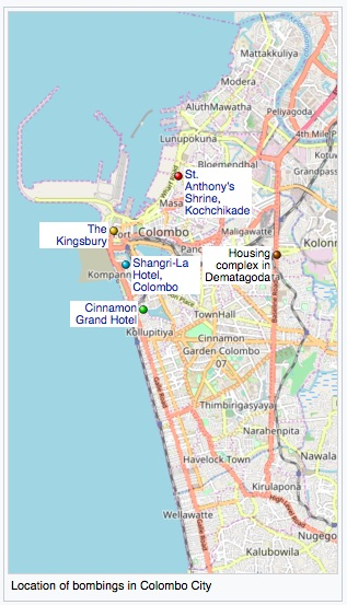 Location of the major bombs in Colombo during the Easter attacks.