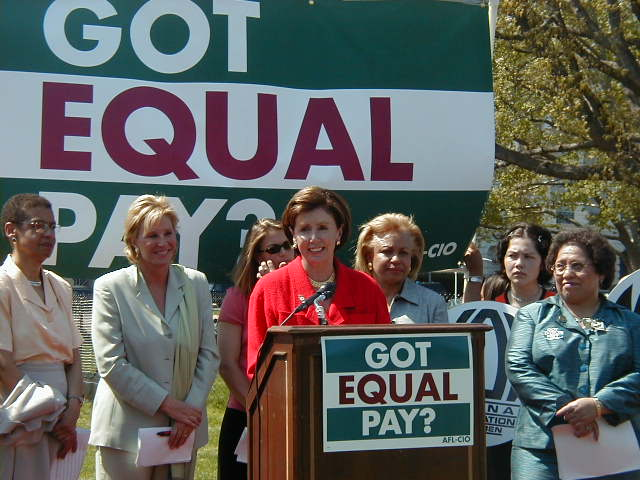 Congresswoman Pelosi speaking at a rally in support of the Paycheck Fairness Act hosted by the National Committee on Pay Equity.