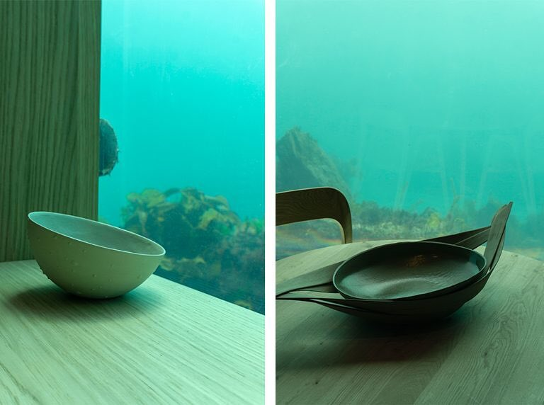 Dishes in front of the underwater window