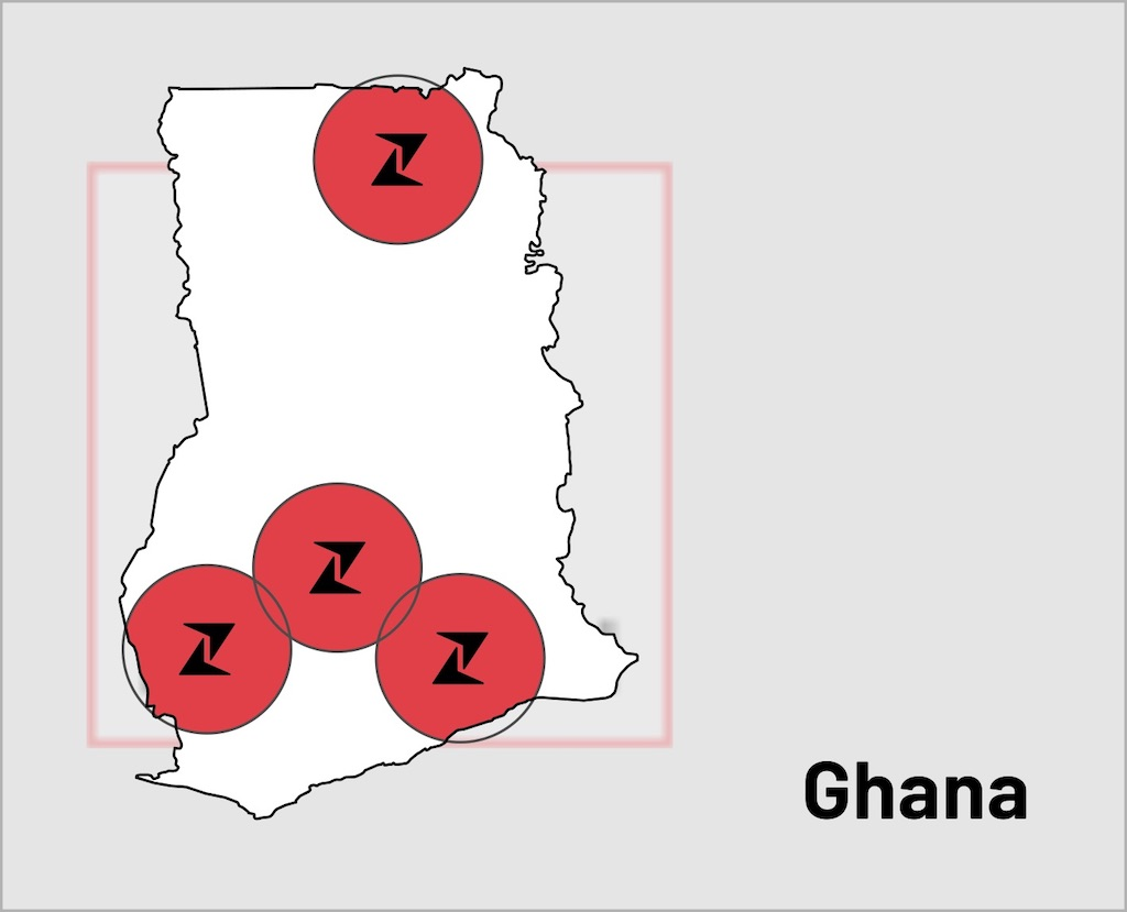 Map showing Zipline's four base stations in Ghana.