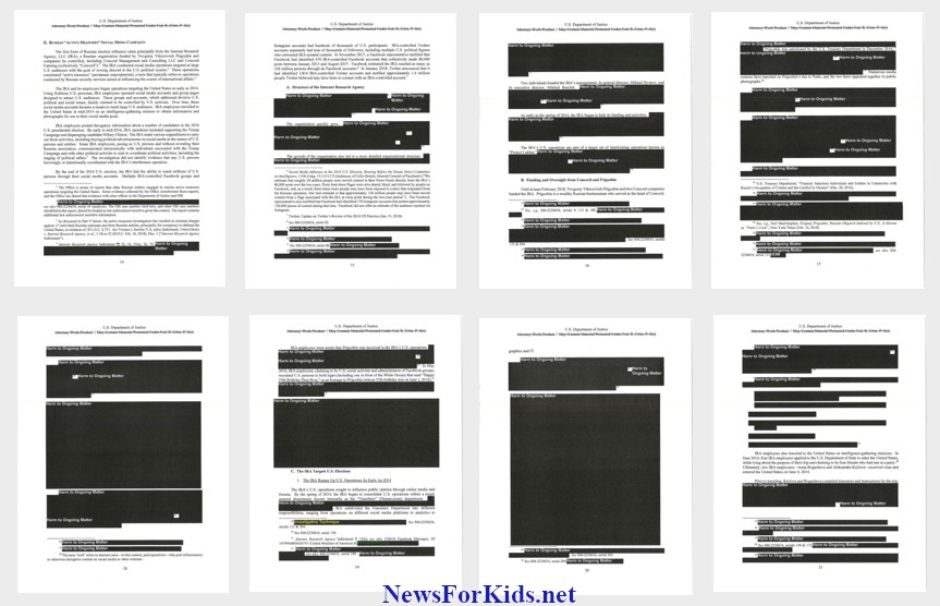 Thumbnails of pages of the Mueller report with redactions.