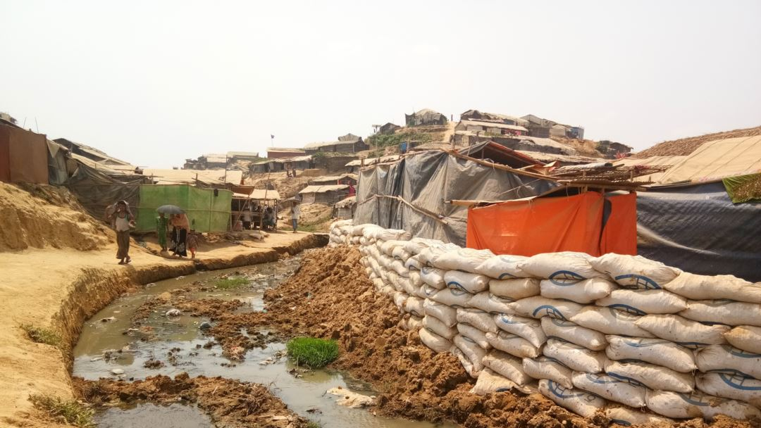 Sandbags placed with the help of aid agencies at Balukhali refugee camp, Cox's Bazaar, Bangladesh, to prevent flooding during the monsoon season.