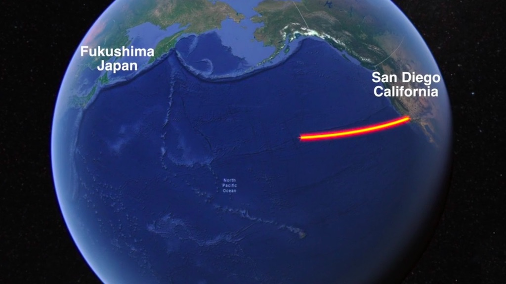 Map showing route from San Diego to Fukushima.