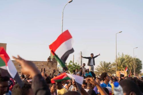 Part of the protestors near the army HQ in Khartoum