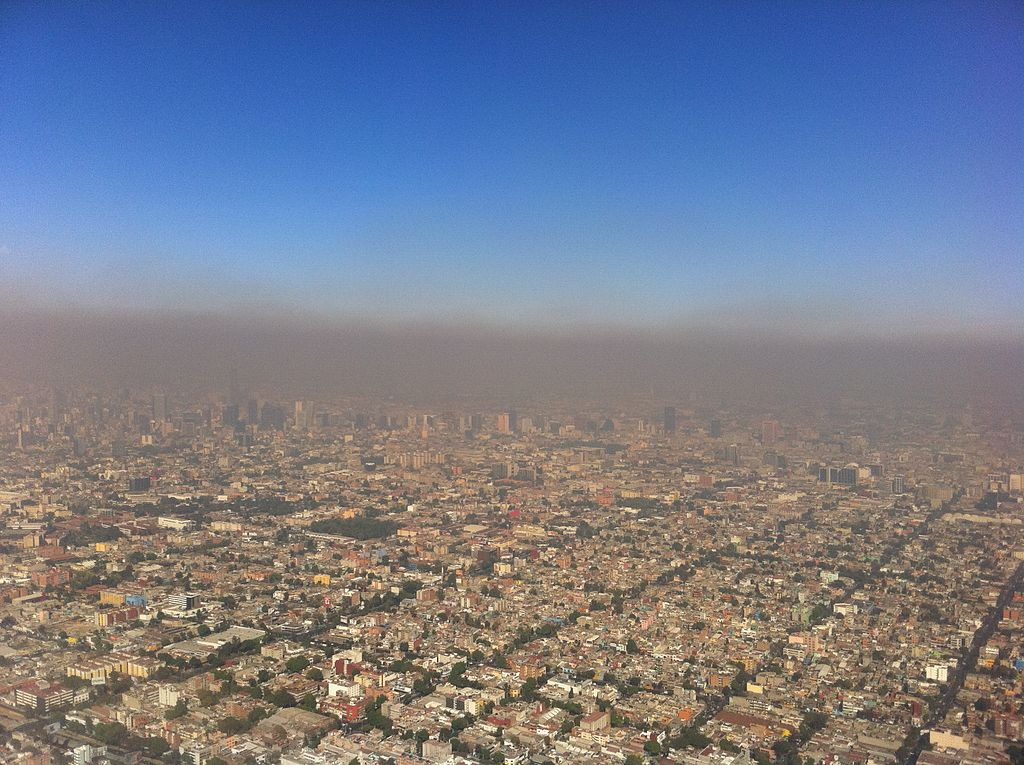 Aerial View of Photochemical Smog Pollution Over Mexico City