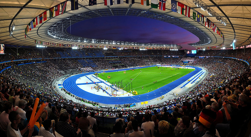 Panoramic view of the olympic stadium of Berlin during the 12th IAAF World Championships in Athletics