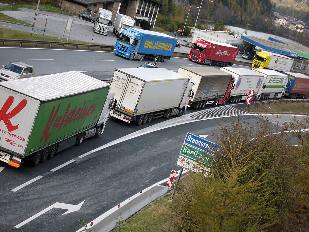 Trucks backed up at the Brenner Pass on the Italian Austrian border, one of the most important transit routes between Northern and Southern Europe.