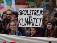 Greta Thunberg at the front banner of the FridaysForFuture demonstration Berlin 29-03-2019 10