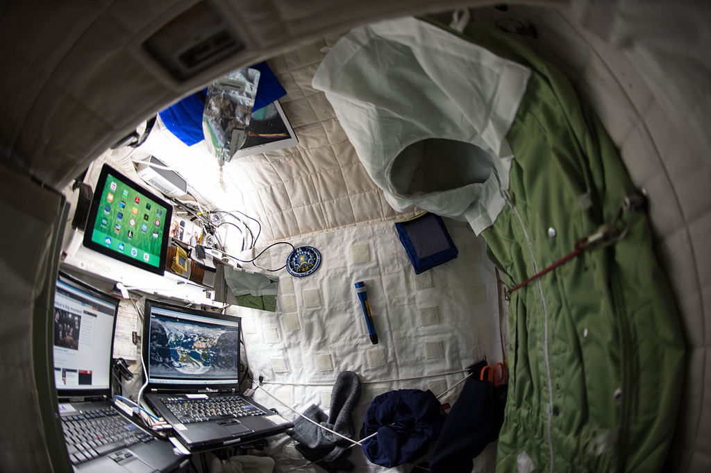 NASA astronaut Scott Kelly on the International Space Station shows off his personal living quarters in space.
