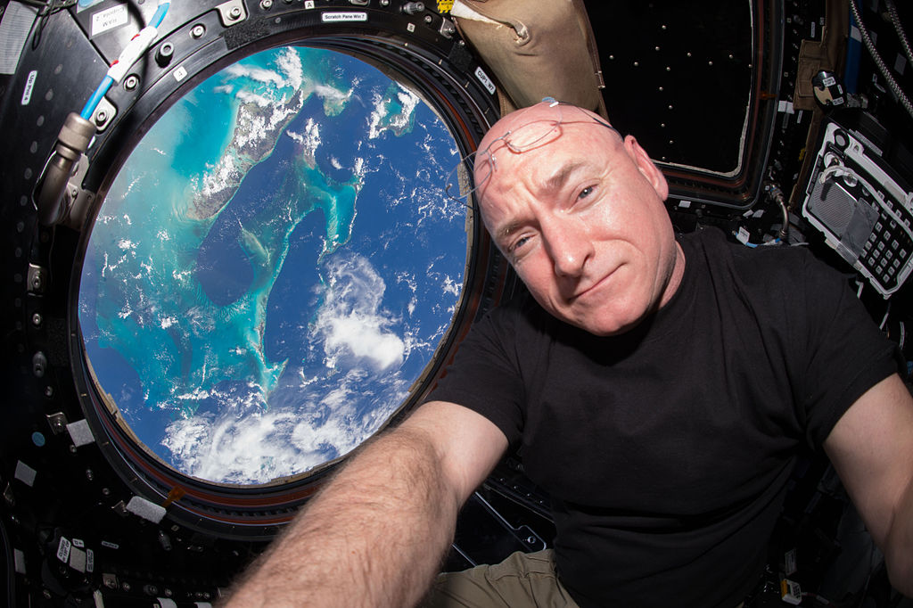 Expedition 44 flight engineer and NASA astronaut Scott Kelly seen inside the Cupola, a special module which provides a 360-degree viewing of the Earth.