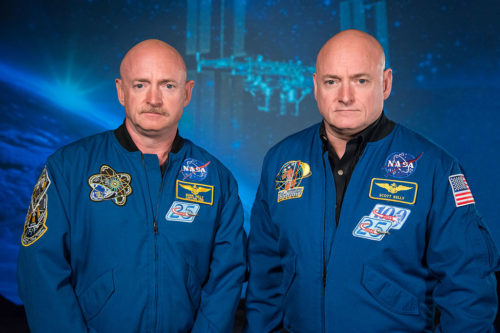NASA Expedition 45/46 Commander, Astronaut Scott Kelly along with his brother, former Astronaut Mark Kelly at the Johnson Space Center, Houston, Texas.