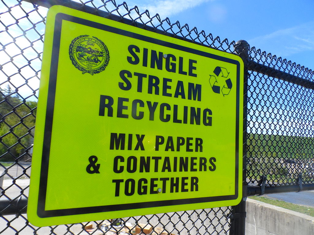 A landfill sign at the Four Hills Landfill, Nashua, New Hampshire, United States