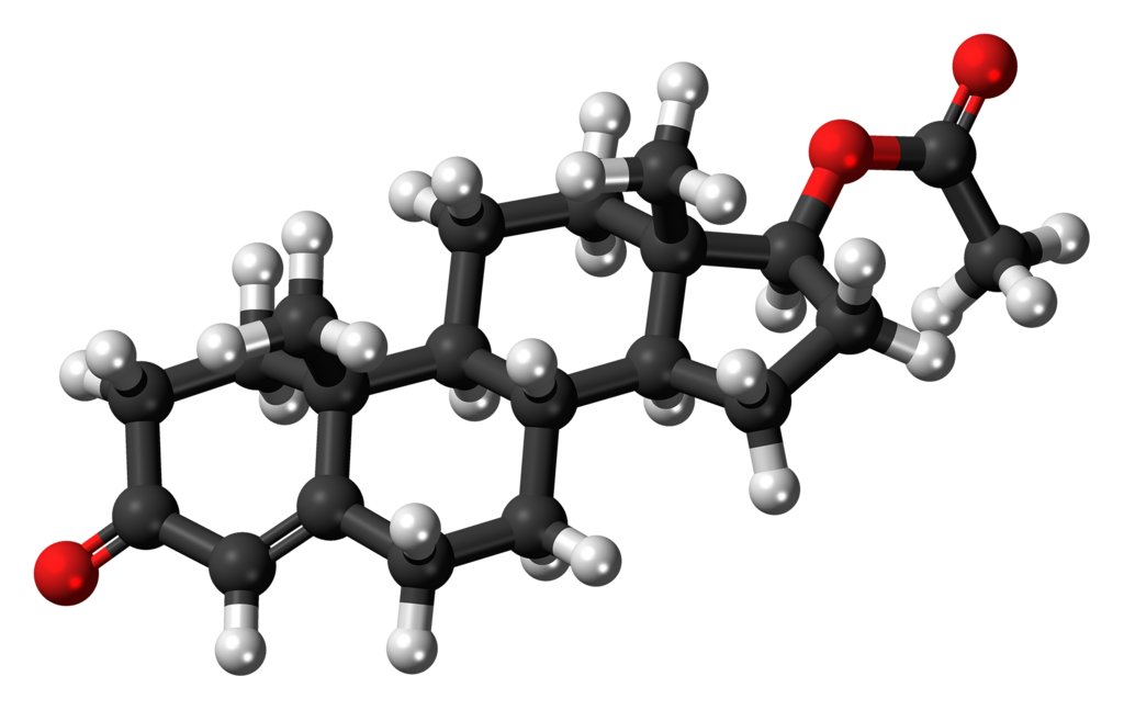 Ball-and-stick model of the testosterone acetate molecule, also known as Aceto-Sterandryl, an anabolic-androgenic steroid.