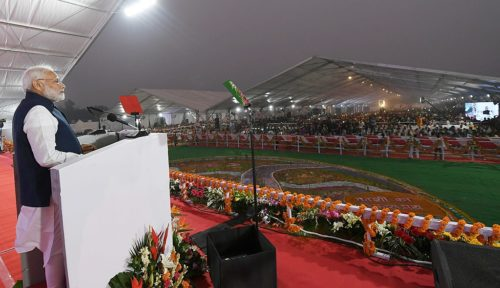The Prime Minister, Shri Narendra Modi addressing the Public Meeting, in Varanasi, Uttar Pradesh on November 12, 2018.