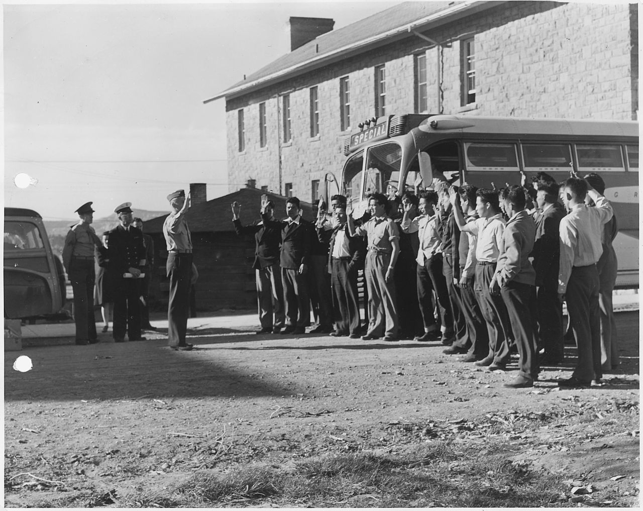 First 29 Navajo U.S. Marine Corps code-talker recruits being sworn in at Fort Wingate, NM.