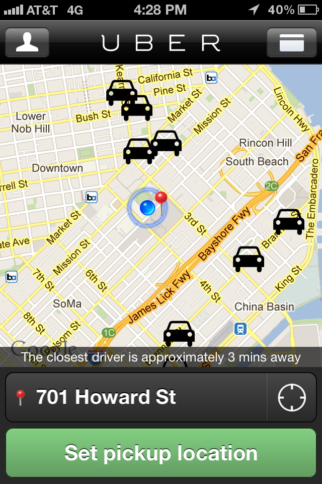 Vertical Uber map showing drivers nearby.