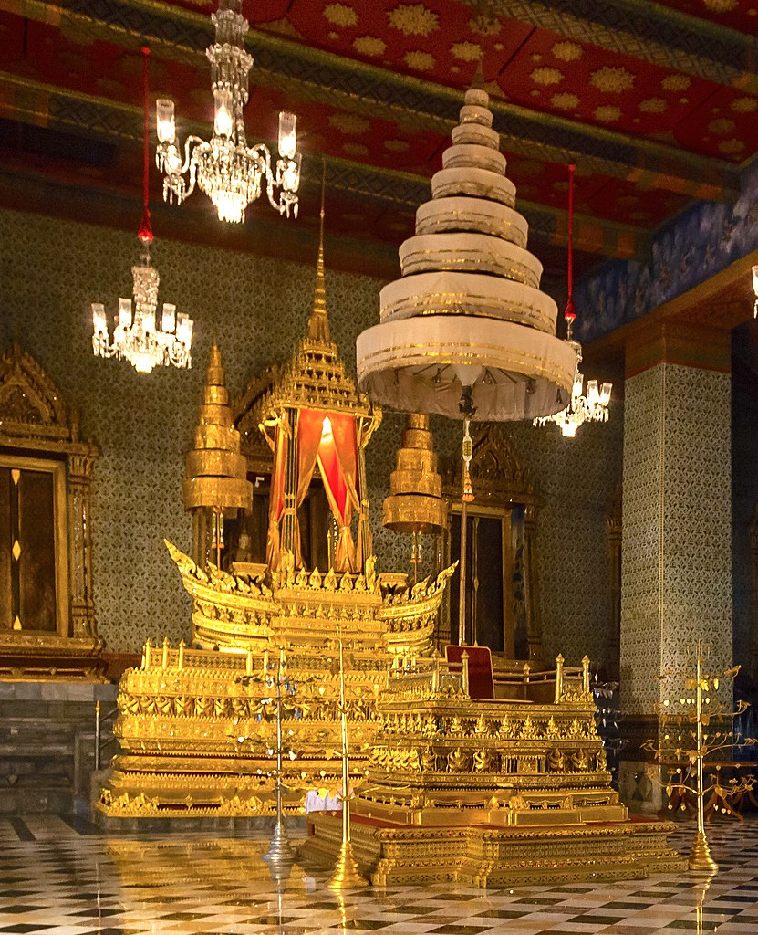 Special 9-umbrella throne, Grand Palace, Bangkok, Thailand
